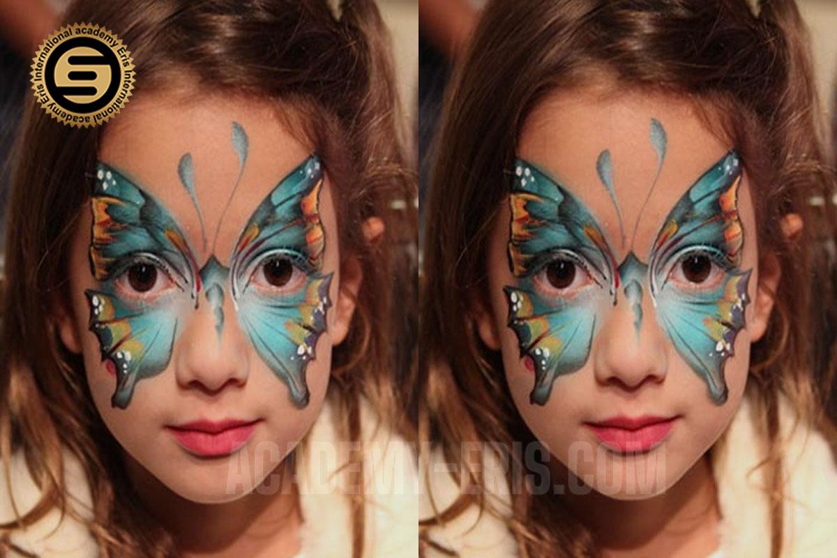 نقاشی طرح پروانه روی صورت کودک