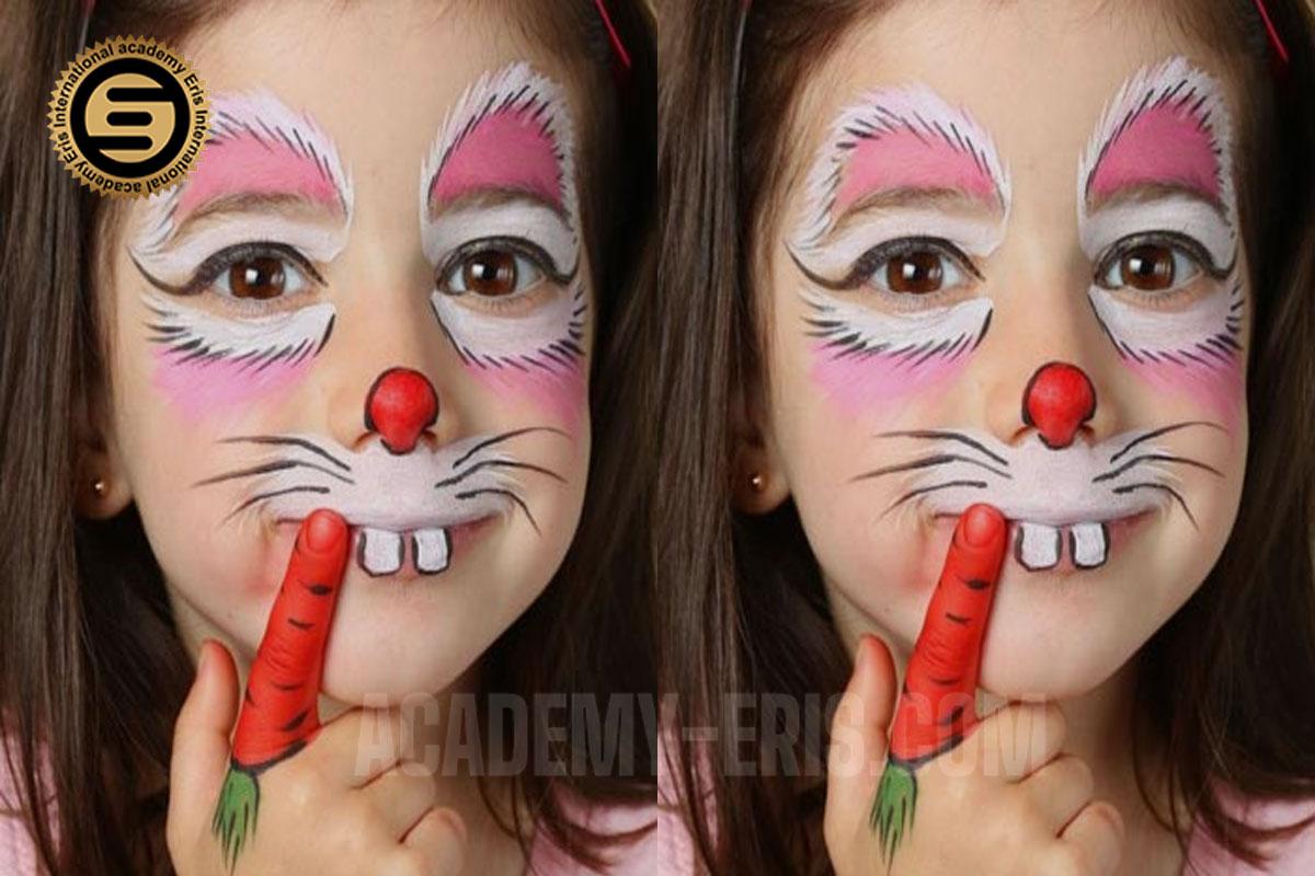 نقاشی طرح خرگوش روی صورت کودک